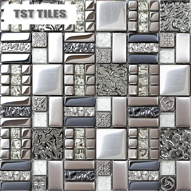 Home Tiles Mosaics Silver Metal Coating Glass Tile Backsplash Kitchen Bathroom Wall Glass Tile Backsplash Kitchen Glass Tiles Kitchen Kitchen Tiles Backsplash