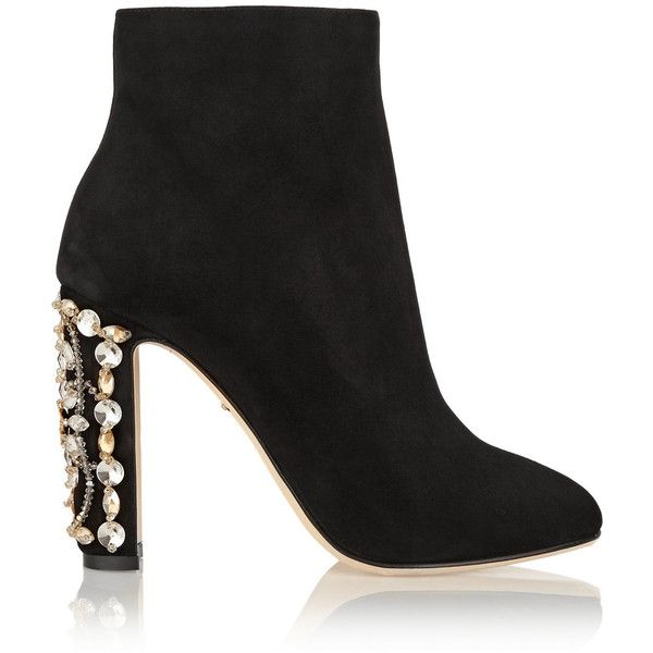 Dolce & Gabbana Crystal-Embellished Patent Leather Booties