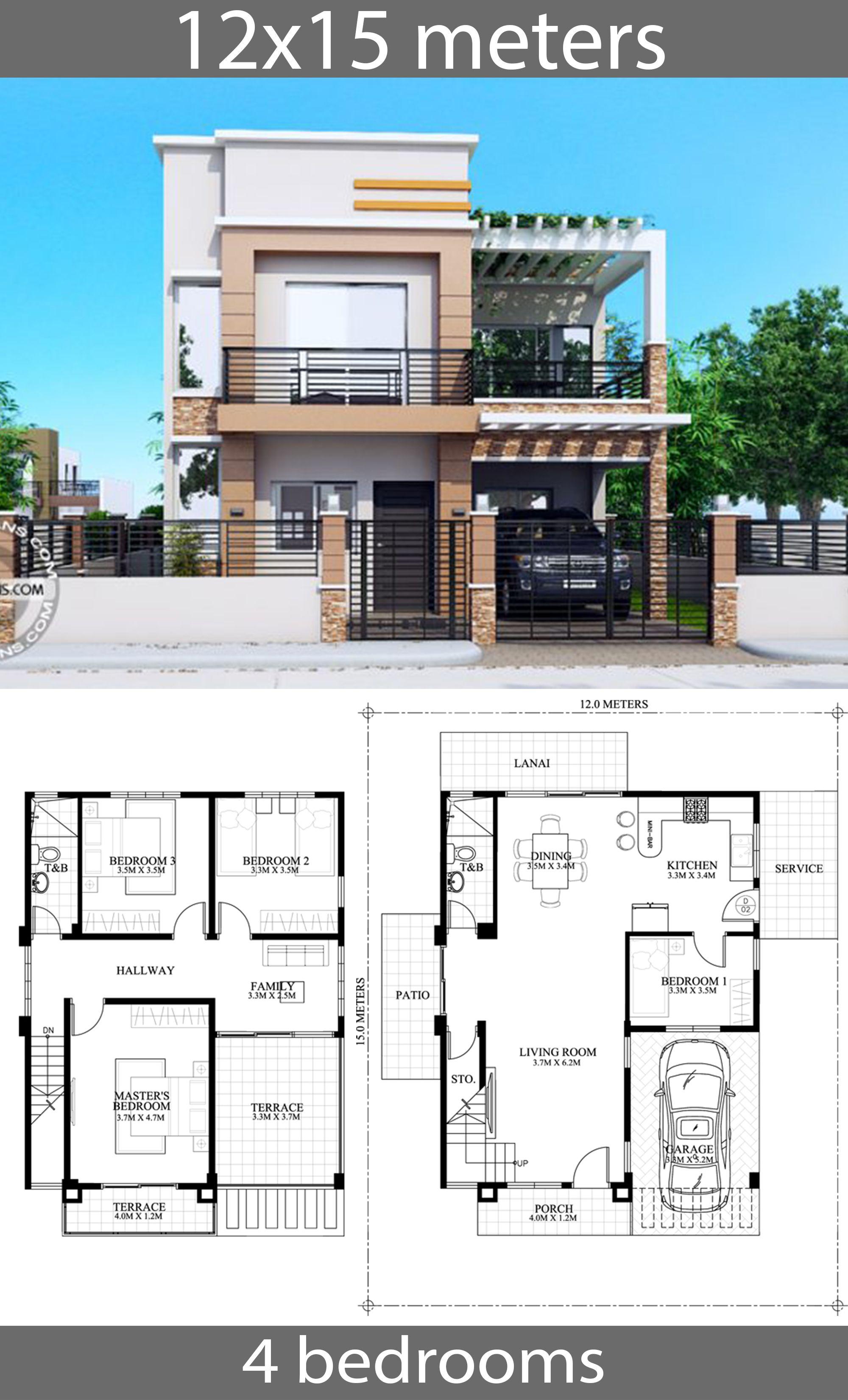 House Plans 12x15m With 4 Bedrooms House Idea In 2020 Duplex House Design House Construction Plan Dream House Plans