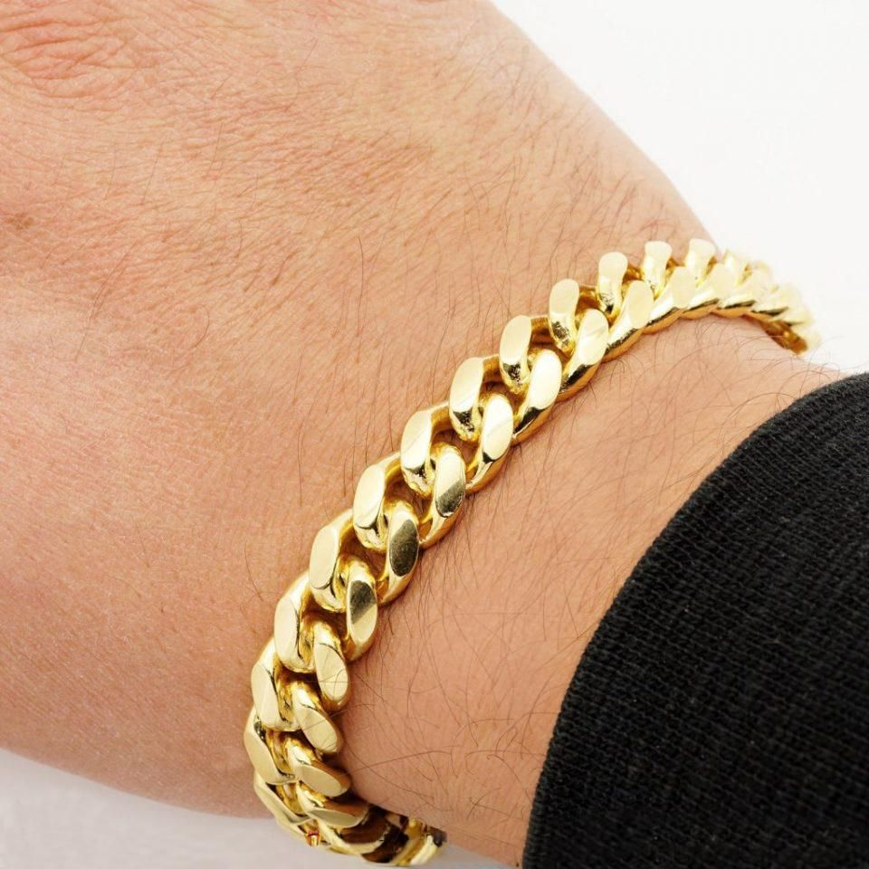 10mm Mens 18k Gold Plated Sterling Silver Heavy Cuban Chain Link Bracelet 9 Inch Mens Gold Bracelets Black Hills Gold Jewelry Chain Link Bracelet