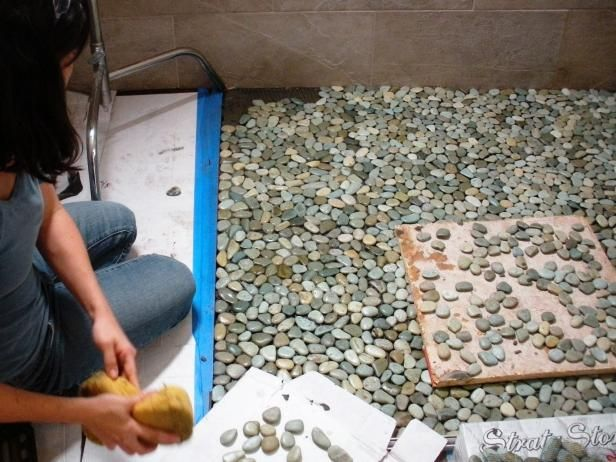 How To Lay A Pebble Tile Floor Pebble Tiles Tile