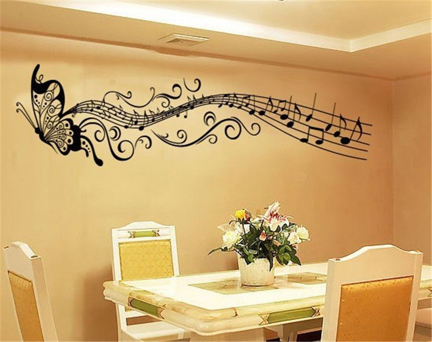 Butterfly and Music Notes Wall Sticker | Wall Stickers - Music ...