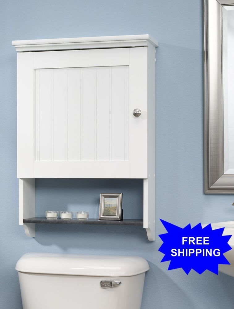 Sauder bathroom storage 1 shelf wall cabinet soft white - Bathroom wall cabinets and shelves ...
