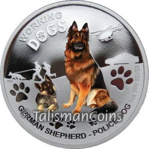 Tuvalu 2011 German Shepherd Police Working Dogs Puppy 1 Oz Pure