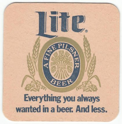 Miller Lite Beer Coaster New Unused 1975 Vintage Color Cardboard Approximately 3 5 Inches Square Original Tag Line Beer Coasters Miller Lite Lite Beer