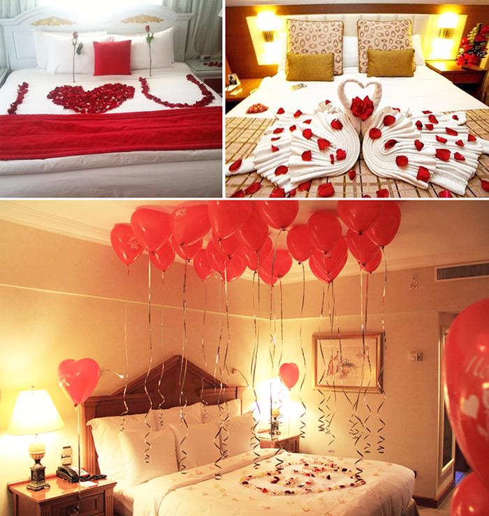 Dia dos Namorados Cama Rom u00e2ntica Dia dos Namorados Camas románticas, Decoraciones de amor e