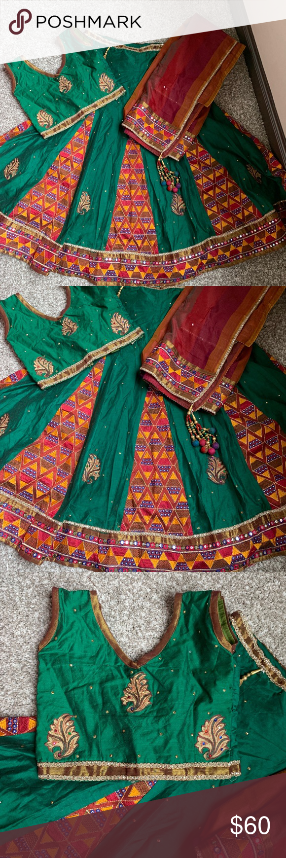 "Chaniya choli for a girl 26""bust31""length Really pretty green and maroon color Chaniya choli for a girl size 32.. for detail sizing see pics.worn once Other #chaniyacholi"