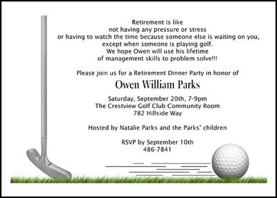 Golf Theme Party Invitation Cards For Retirement Number 7808cs Ri