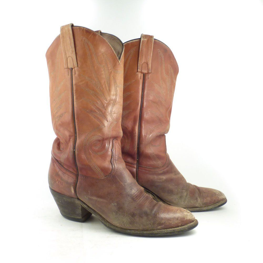 69639c7bd92 Frye Cowboy Boots Vintage 1980s Distressed Leather Whiskey Brown ...