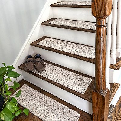 Best Ivory Braided 13 Pc Rectangle Stair Tread Set Stair 400 x 300