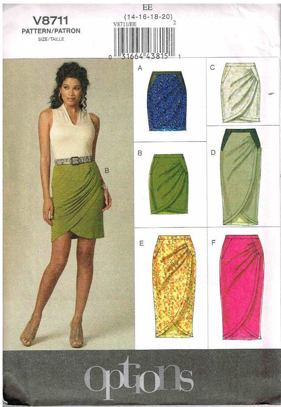 Tulip Shape Fitted Mock Wrap Skirt Long or Short Vogue 8711 Sewing ...