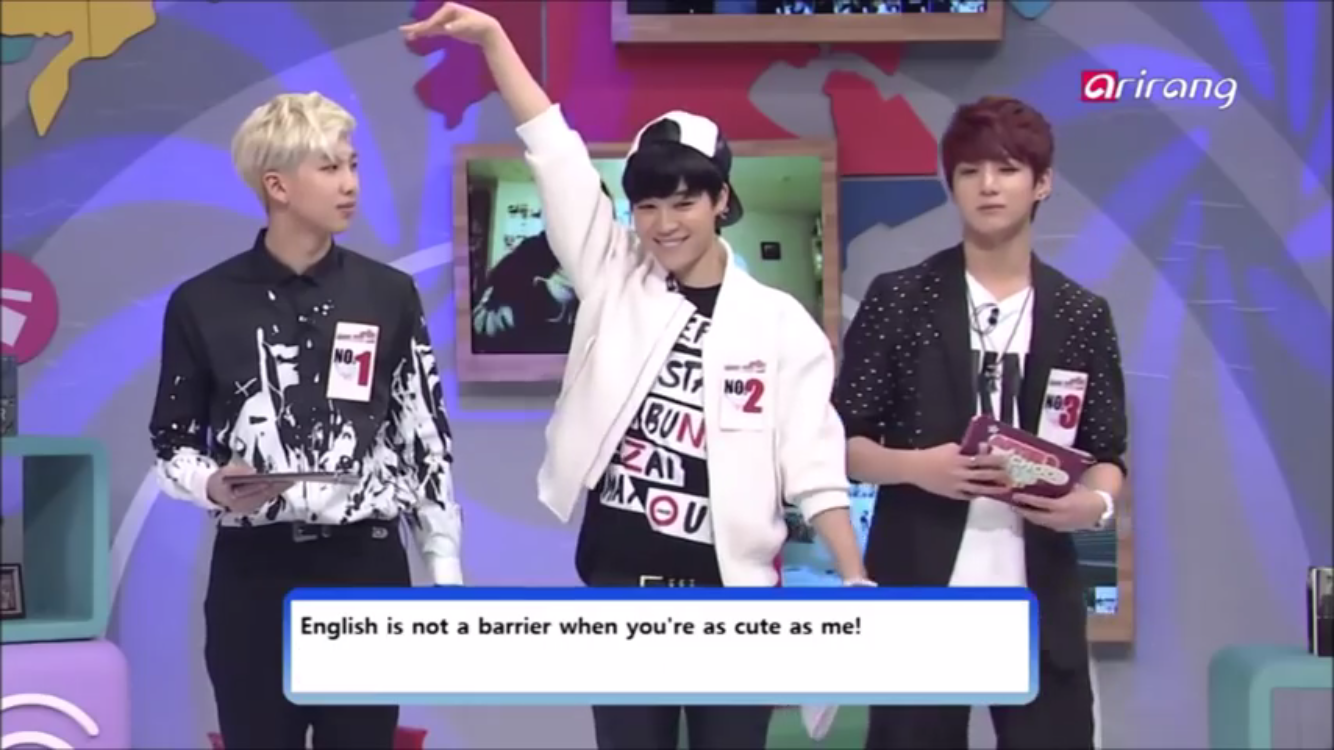 "Jimin ""English is not a barrier when you're as cute as me!"""