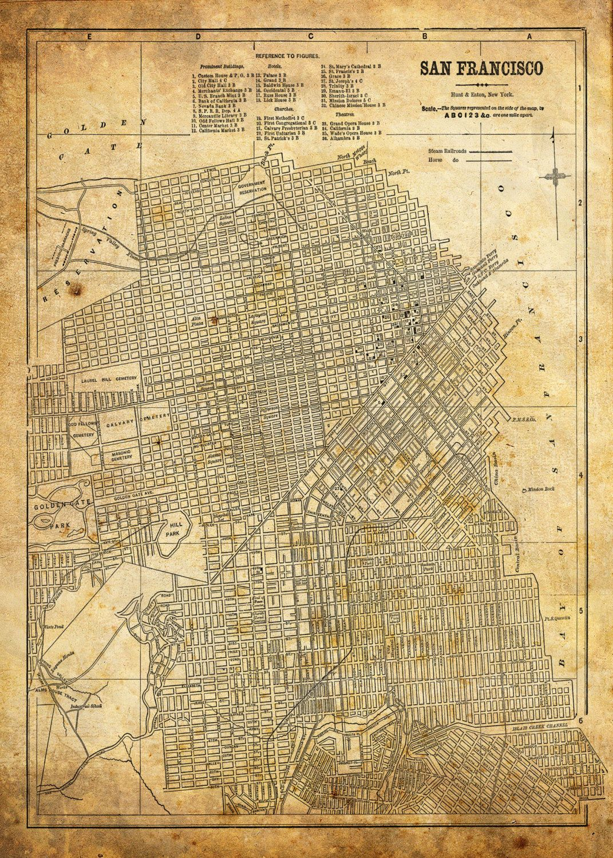 San Francisco Map Street Map Vintage Sepia Grunge Print Poster - Vintage los angeles map poster