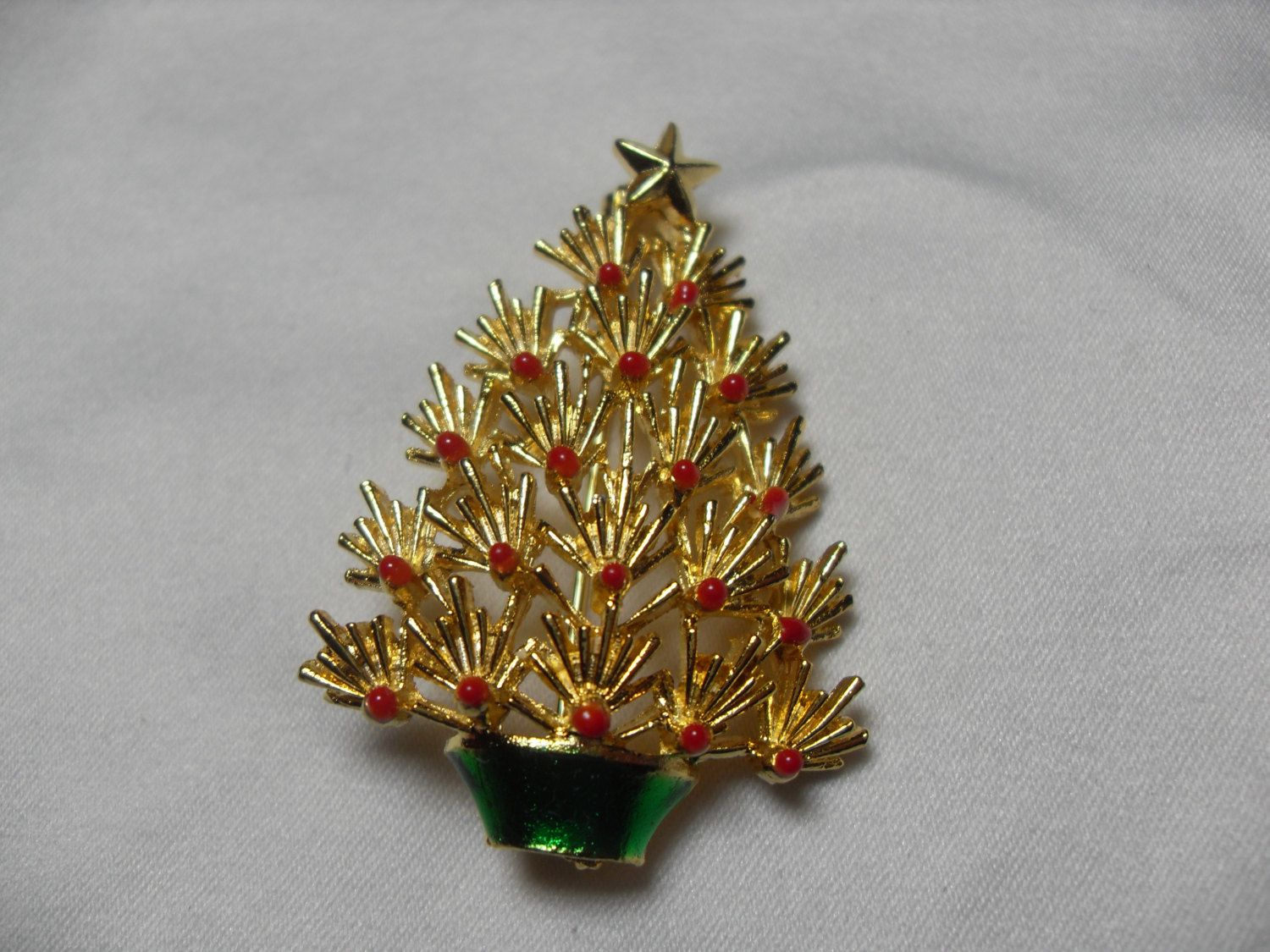 Red Enamel Christmas tree brooch, Red Ball Christmas scarf pin, holiday brooch,Holiday jewelry, Gift for her, Gingerslittlegems by GingersLittleGems on Etsy