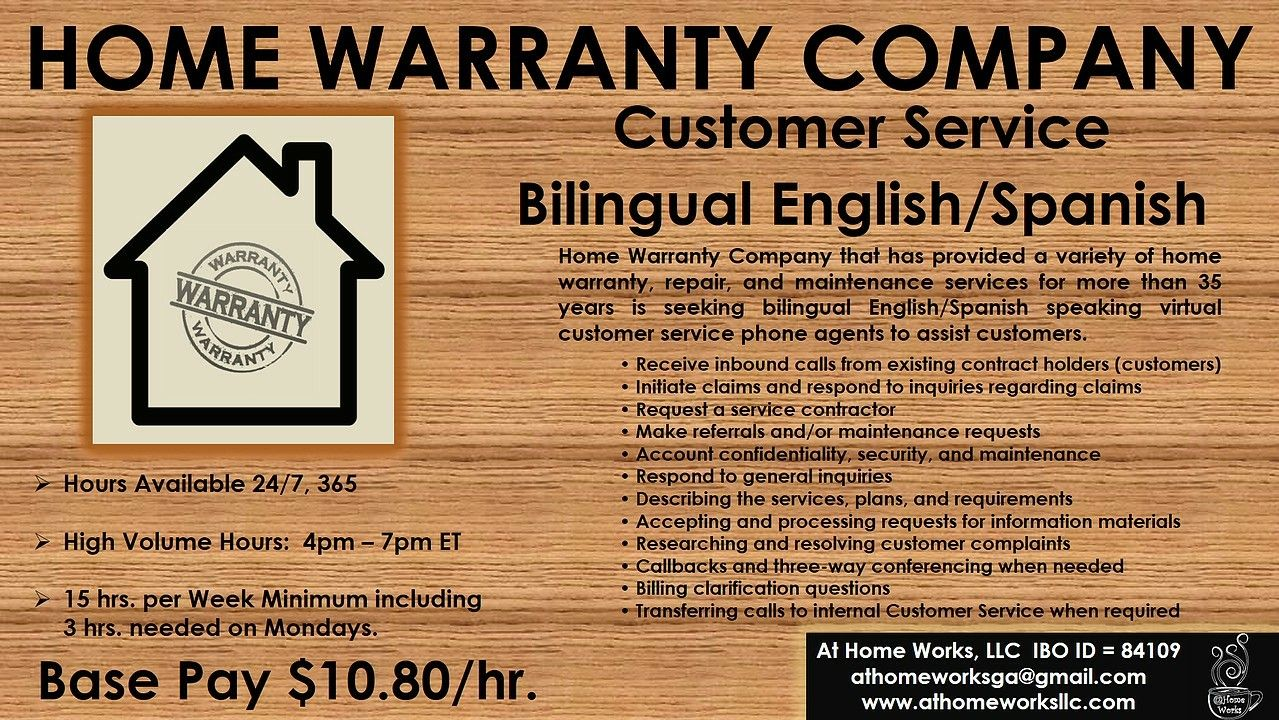 Pin By At Home Works Llc On Opportunity Announcements How To Speak Spanish Home Warranty Companies Bilingual English