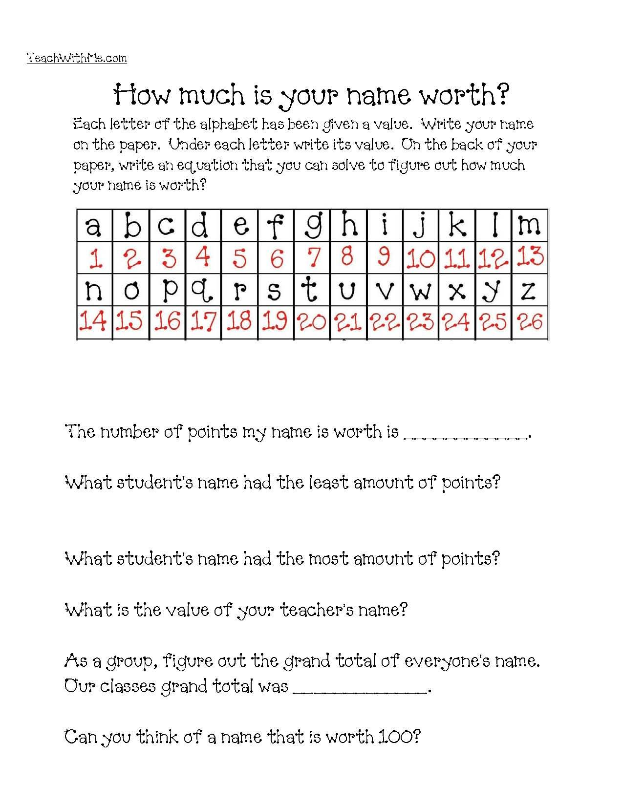 Dollar Words Worksheet