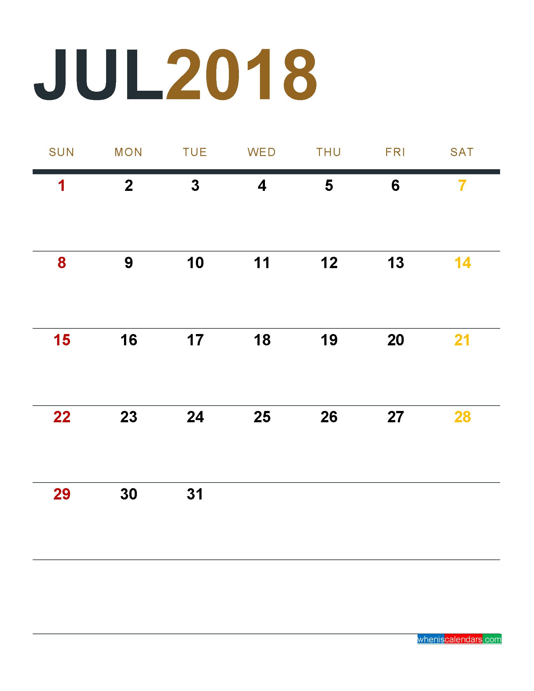 July 2018 HD Calendar  July 2018 Calendar PDF, Word, Excel
