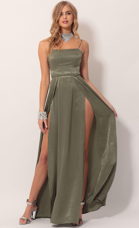 satin bridesmaid dresses green