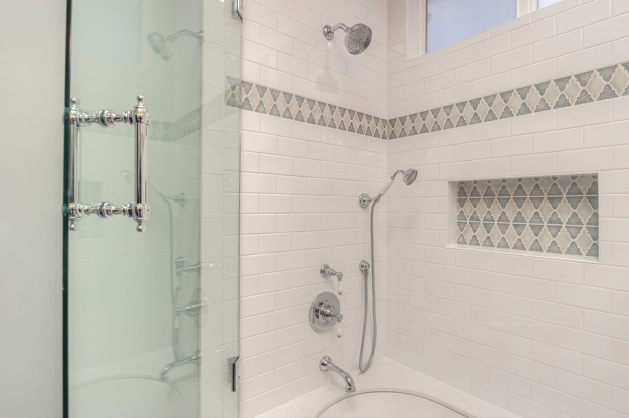 Beautiful shower tub combination in this master bathroom renovation ...