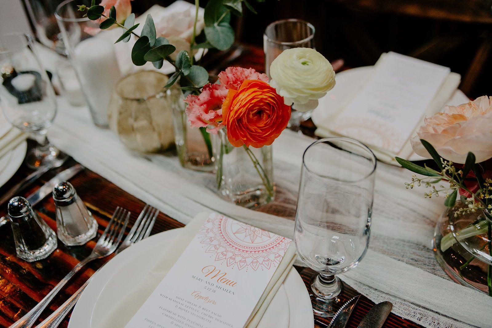 Henna dinner menu from Mary + Shay's Indian Wedding
