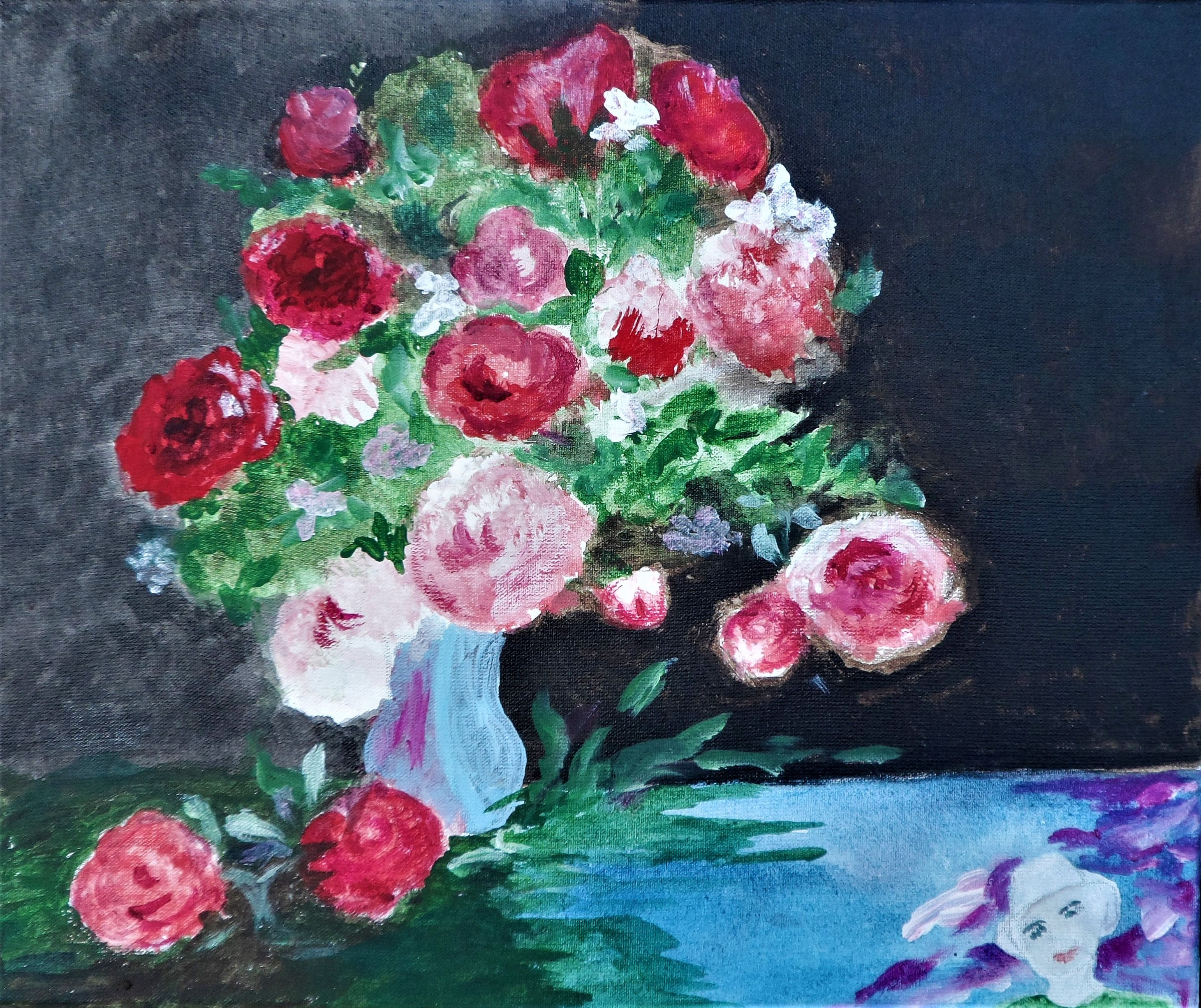 Days of Wine and Roses by Mrs D Parker from the Self Portrait open art exhibition at Harbour House, autumn 2017