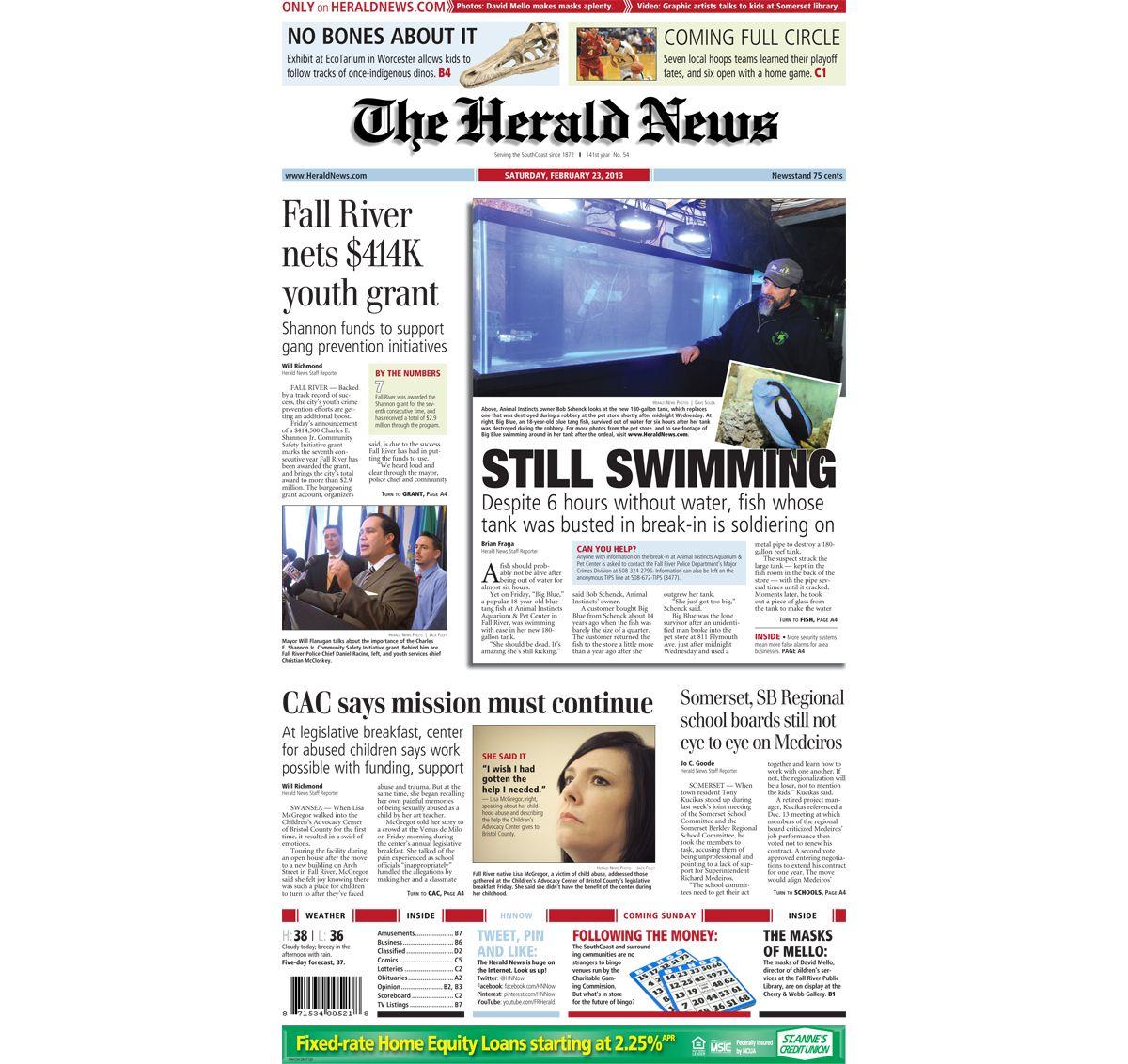 HeraldNews front page, 6-63-6. #FallRiver  Herald news, Fall