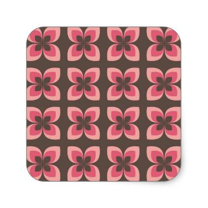 Modern Floral Art Design Square Sticker - craft supplies diy custom design supply special