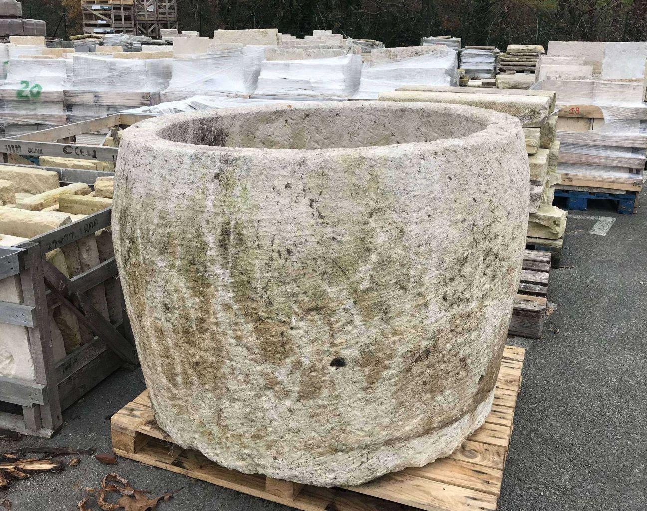 Pot Jardin Grande Taille bac ancien circulaire en pierre - hauteur 63 cm en 2020