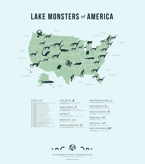 "The Lake Monsters of America.  People love to fill in mysterious areas of nature with myths of monsters. Early maps had voids of knowledge marked with warnings that ""Here be Dragons,"" sasquatches [sic] are believed to be prowling the thick forests, and legends tell of strange creatures that might be concealed beneath the surface of our lakes. Here we present our map of American lake monsters, showing the spread of cryptids that might be lurking in the depths of the waters of the United…"