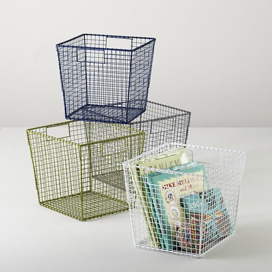 The Land Of Nod | Kids Storage: Wire Storage Cube Bins In Tabletop Storage
