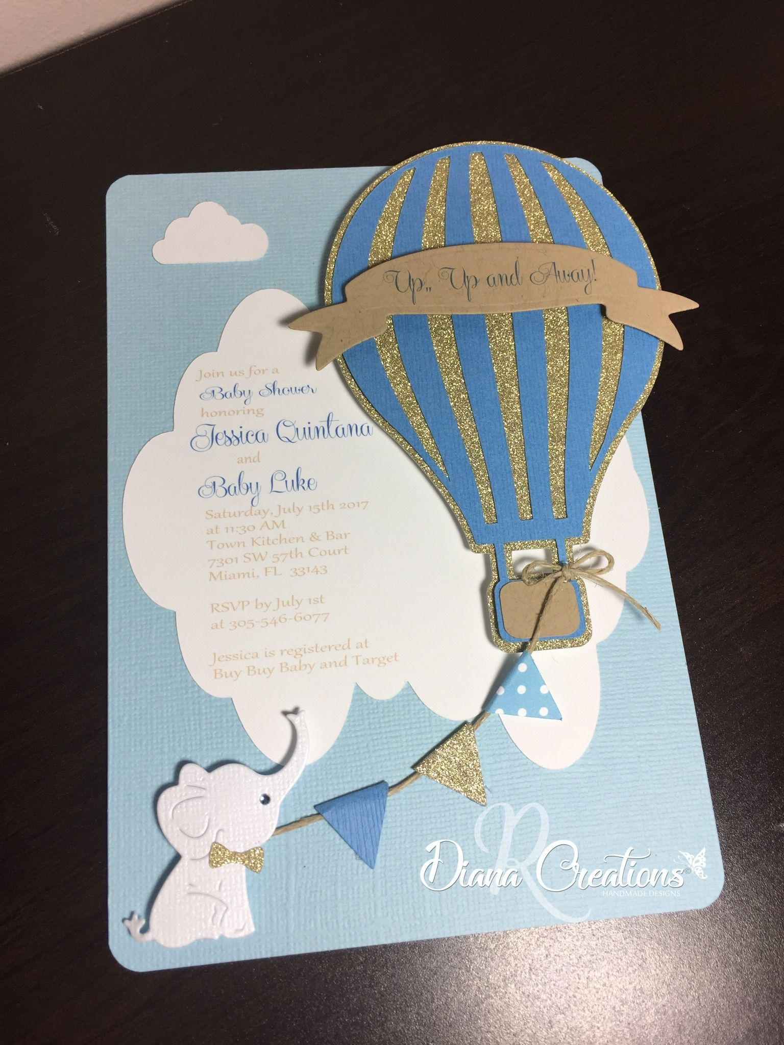 Hot Air Balloon Baby Shower With A Cute White Elephant
