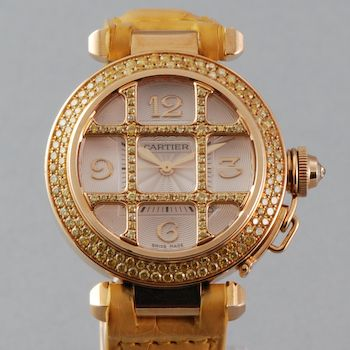 db8745c44422a Cartier Pasha - 18K Yellow Gold & Yellow Diamonds - Factory Grid ...