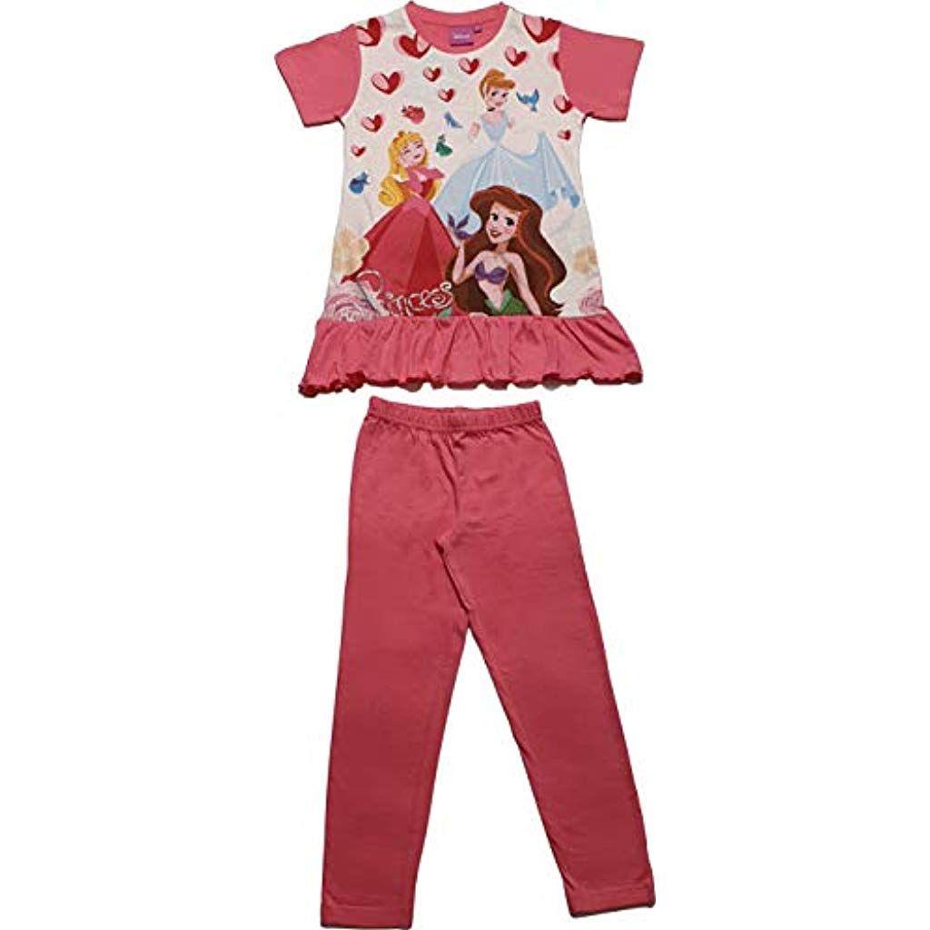 Disney Pigiama Bimba Principesse Maglia Maniche Corte e Orlo Arricciato Pantalone Lungo Tinta Unita