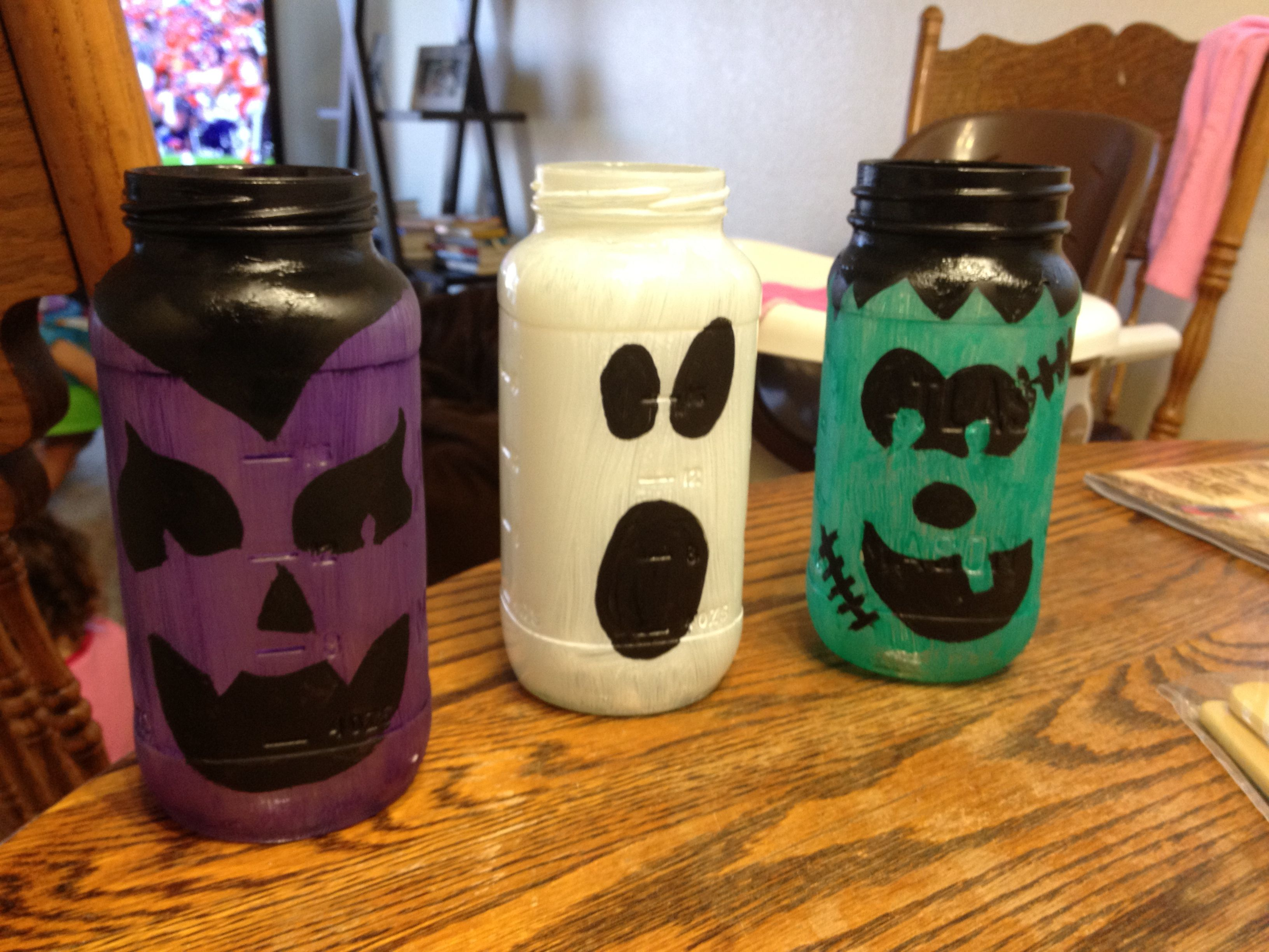 Halloween Decor Mason Jars And Acrylic Paint Pretty