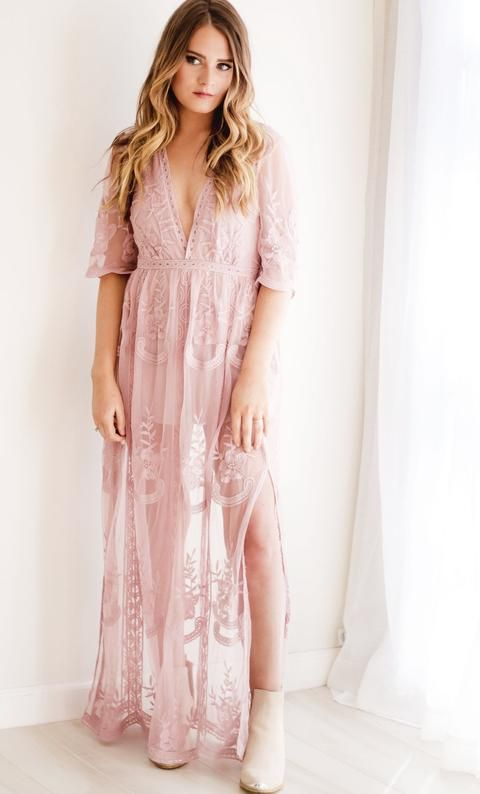 77a9dc4fd458 Gemma Lace Blush Maxi Dress | SlayDay | Dresses, Lace maxi romper ...