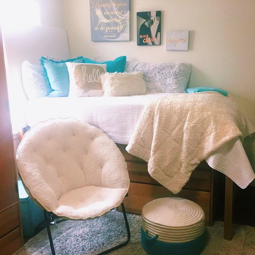 Best Dorm Room White Teal Blue Gold Comfy Dorm Room 400 x 300