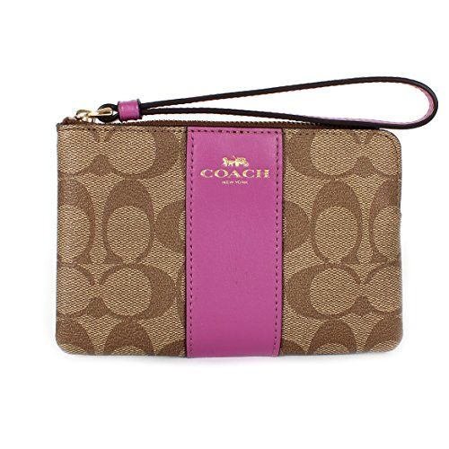 Coach Signature PVC Corner Zip Wristlet F58035 KhakiHycinth >>> To view further for this item, visit the image link.