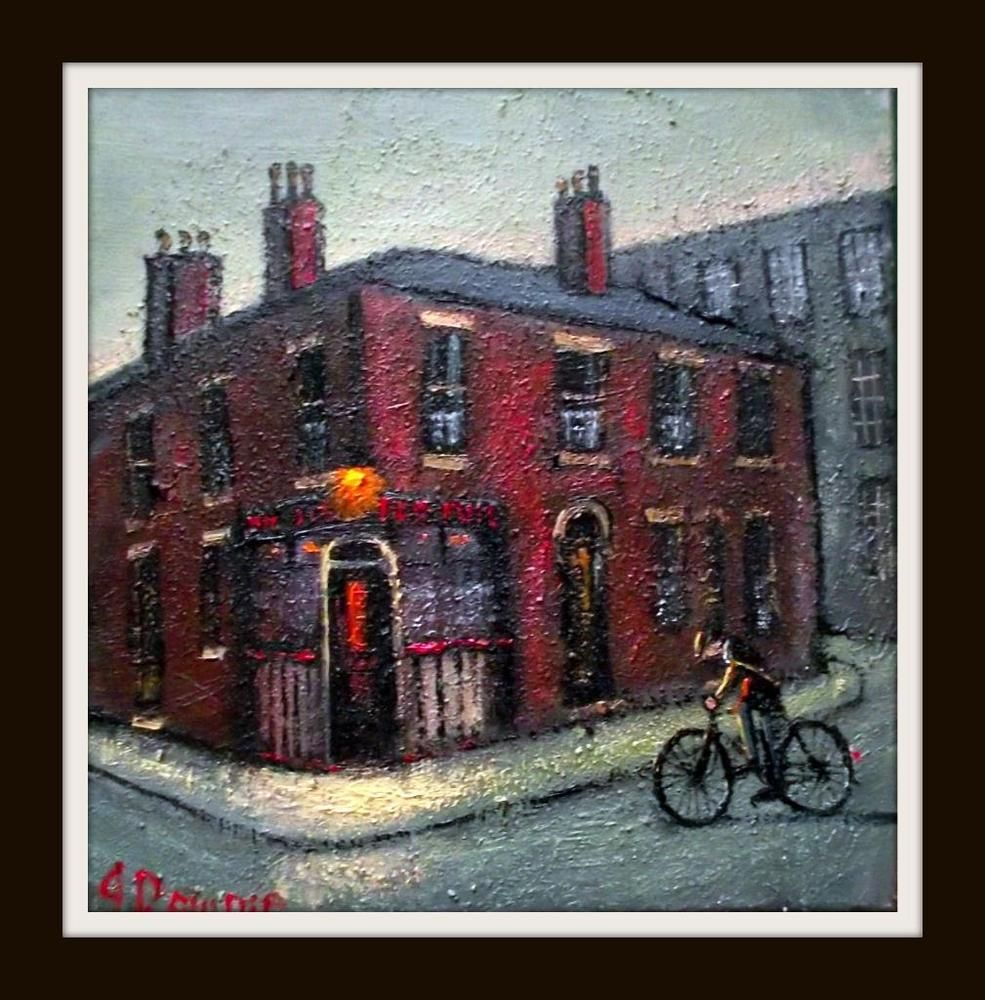 Original Best Oil Painting Noted Artist James Downie Cycling To