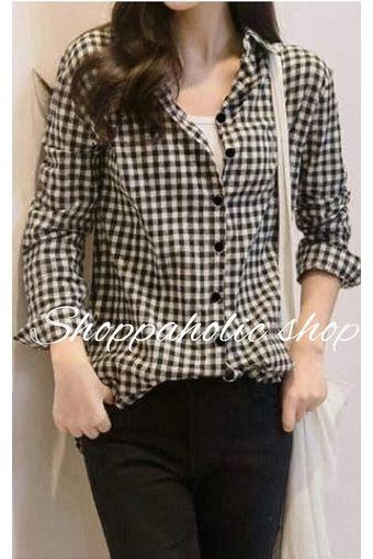 Shoppaholic Shop Hem Square Black Baju Wanita Blouse Korea