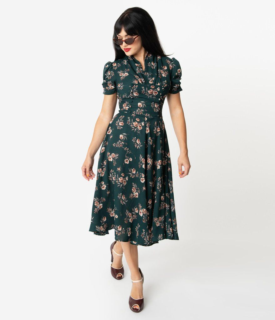 Unique Vintage 1940s Green Floral Print Camilla Midi Dress Vintage Dresses Online Vintage Attire Vintage Dresses [ 1023 x 879 Pixel ]