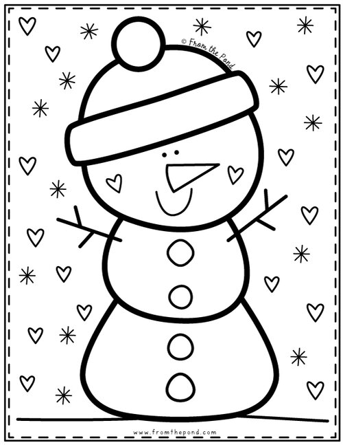 Cute Snowman Coloring Pages Coloring Club From The Pond Snowman Coloring Pages Kindergarten Coloring Pages Coloring Pages