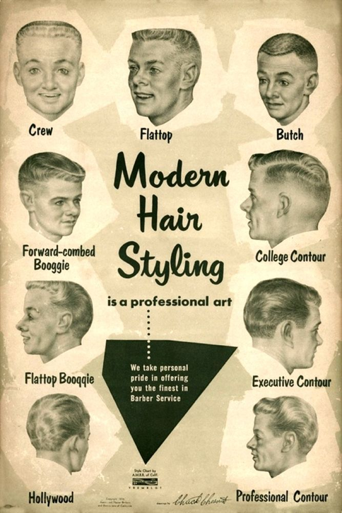 1950s Mens Hairstyles Art Print Barber Hair Styles Mid Century