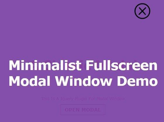 Minimalist Fullscreen Modal Window with jQuery | jQuery