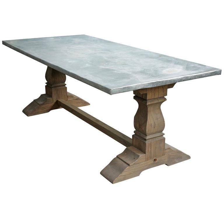 Attrayant Zinc Wrapped Belgian Oak Farmhouse Table