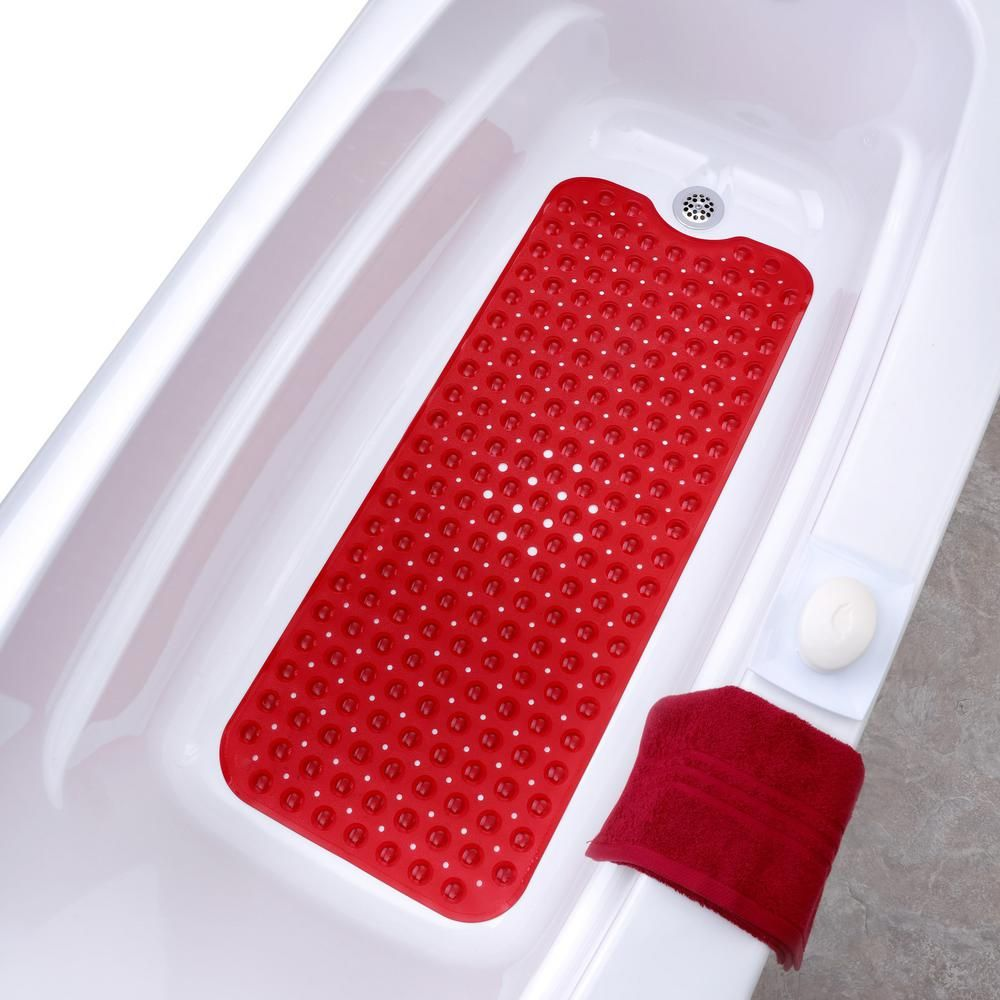 Slipx Solutions 16 In X 39 In Extra Long Bath Mat In Red Extra