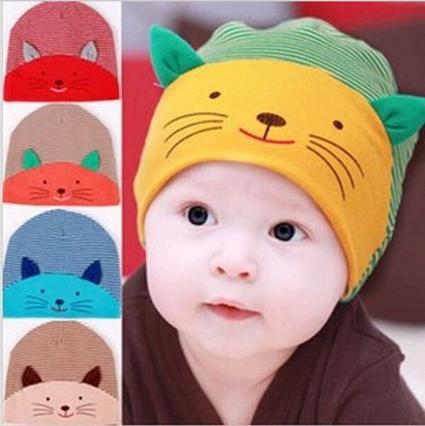 1b9b09de489 Baby warm hat infant animal cat caps skullies baby boys girls striped  cartoon cute 3D cat face ear cotton beanies 5 colors