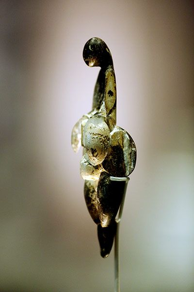 A 23,000-year-old abstract figure from Lespugue, France. Picasso was fascinated by it and it influenced his 30s sculptural works.