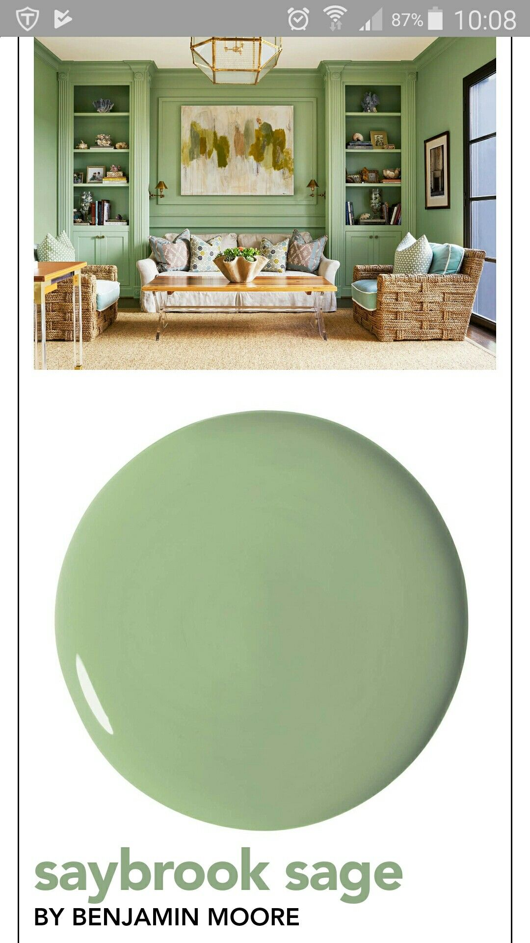 love this green paint saybrook sage by benjamin moore on green office paint color id=34694