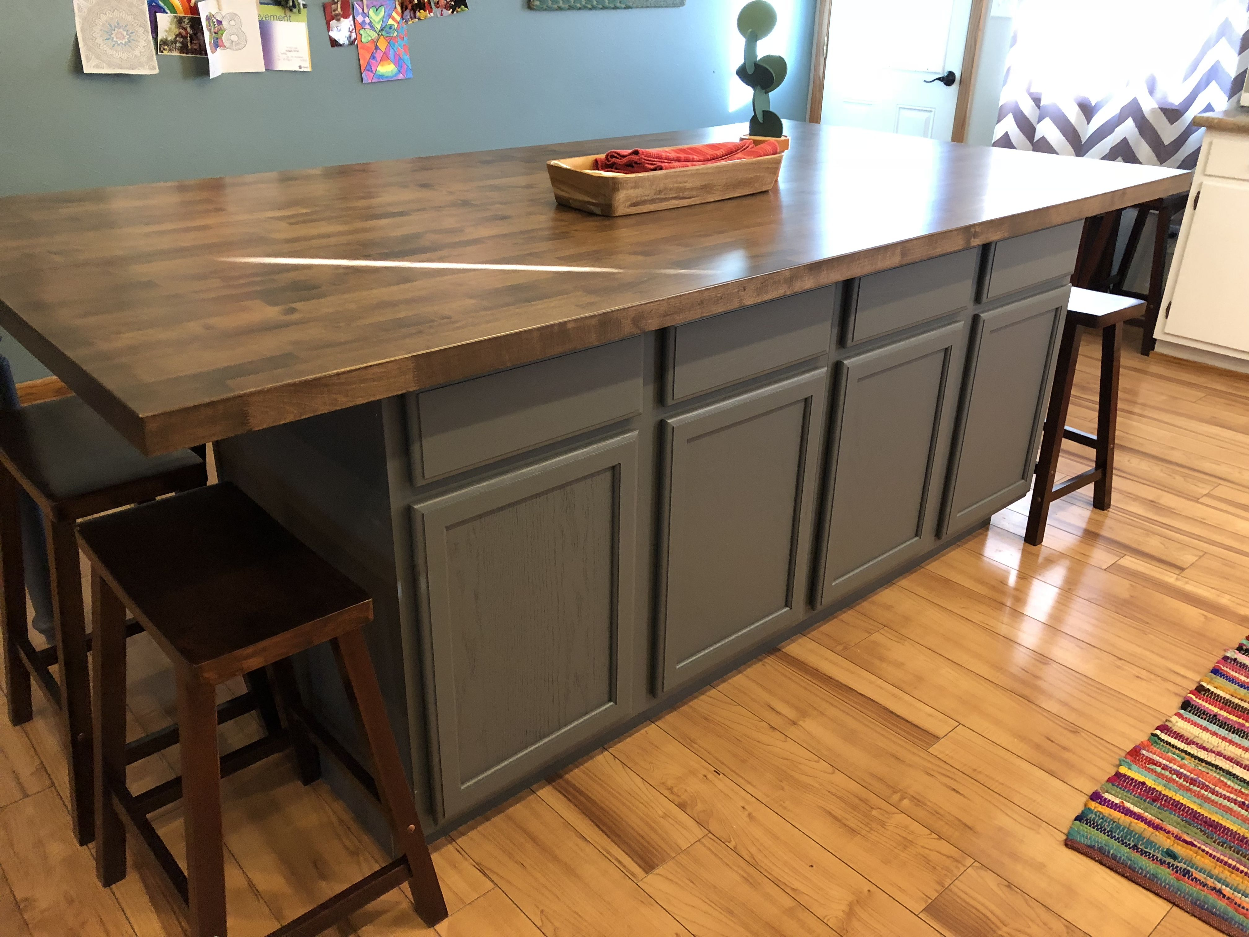 Diy Kitchen Island Made With Stock Base Cabinets And Butcher Block Top Paint Color P Diy Kitchen Island Small Kitchen Island Kitchen Island Table Combination
