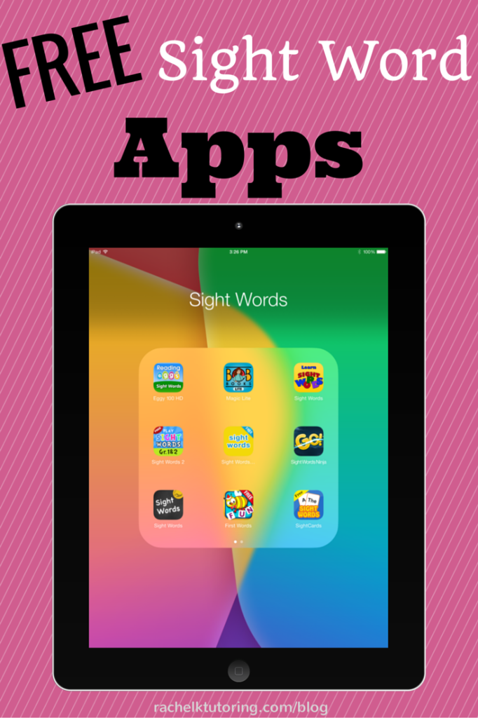 Free Sight Word Apps Blog, Free and Kindergarten
